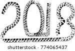 tire tracks . new year 2018.... | Shutterstock .eps vector #774065437