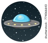 ufo flat design icon isolatd on ... | Shutterstock .eps vector #774066643
