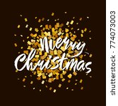 merry christmas text. gold and... | Shutterstock .eps vector #774073003