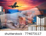 double exposure business hands... | Shutterstock . vector #774073117