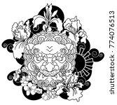 black and white lucky lion...   Shutterstock .eps vector #774076513