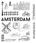 vector poster amsterdam | Shutterstock .eps vector #774090463