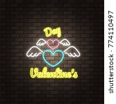 wing angel neon happy valentine'... | Shutterstock .eps vector #774110497