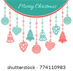 christmas greeting card. vector ... | Shutterstock .eps vector #774110983