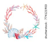 watercolor sea round wreath  ... | Shutterstock . vector #774121903