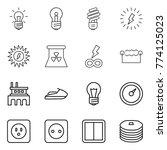 thin line icon set   bulb ... | Shutterstock .eps vector #774125023