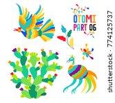 vector folk mexican otomi style ...   Shutterstock .eps vector #774125737