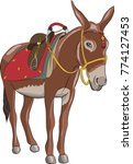 vector. a donkey with a saddle. | Shutterstock .eps vector #774127453
