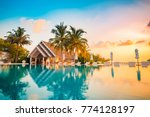 beautiful poolside and sunset... | Shutterstock . vector #774128197