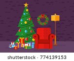 christmas living room with tree ... | Shutterstock .eps vector #774139153