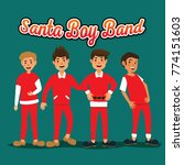 santa boy band in christmas eve | Shutterstock .eps vector #774151603
