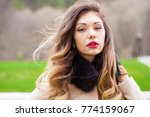 young brunette woman in gray... | Shutterstock . vector #774159067