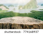 old empty wood table on top of... | Shutterstock . vector #774168937