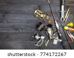 fishing rods and reels  fishing ... | Shutterstock . vector #774172267