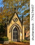 """Small photo of Chapel-like tomb at the """"Alter Zwoelf-Apostel-Kirchhof"""" (""""Old Twelve Apostles Cemetery"""") in Berlin-Schoeneberg - The listed cemetary is one of the most important historical graveyards in Berlin"""