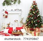 christmas tree in the room near ... | Shutterstock . vector #774193867