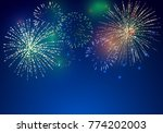 brightly colorful fireworks on... | Shutterstock .eps vector #774202003