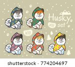 collection of cute siberian... | Shutterstock .eps vector #774204697