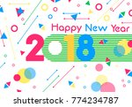 happy new year 2018 greeting... | Shutterstock .eps vector #774234787