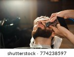 master cuts hair and beard of... | Shutterstock . vector #774238597
