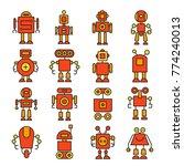 robot cartoon character icons... | Shutterstock .eps vector #774240013