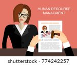 hand holding resume and stamp... | Shutterstock .eps vector #774242257