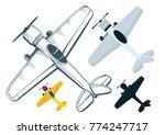 vintage airplane set. hand...   Shutterstock .eps vector #774247717