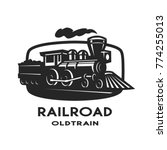 old steam train emblem  logo. | Shutterstock .eps vector #774255013