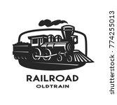 old steam train emblem  logo.   Shutterstock .eps vector #774255013