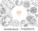 family dinner top view  vector... | Shutterstock .eps vector #774259273