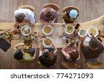 top view of happy people... | Shutterstock . vector #774271093