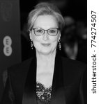 Small photo of LONDON - FEB 12, 2017: ( Image digitally altered to monochrome ) Meryl Streep attends The EE British Academy Film Awards (BAFTA) at the Royal Albert Hall