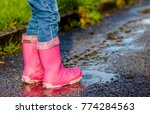 little girl with pink wellys in ... | Shutterstock . vector #774284563