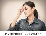 portrait stressed sad business... | Shutterstock . vector #774306547