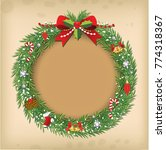 christmas wreath vector old... | Shutterstock .eps vector #774318367