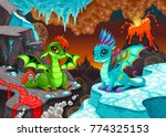 baby dragons in a fantasy... | Shutterstock .eps vector #774325153