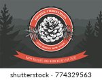 holiday card design. pine cone... | Shutterstock .eps vector #774329563