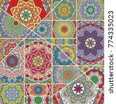 vector patchwork quilt pattern. ... | Shutterstock .eps vector #774335023