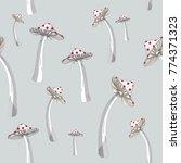 fly agaric mushroom seamless