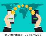 bitcoin exchange and transfer.... | Shutterstock .eps vector #774374233