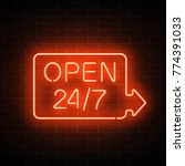 neon open 24 hours 7 days a... | Shutterstock .eps vector #774391033