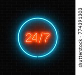 neon open 24 hours in circle... | Shutterstock .eps vector #774391303