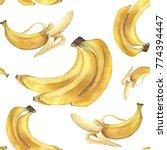 watercolor bananas pattern.... | Shutterstock . vector #774394447
