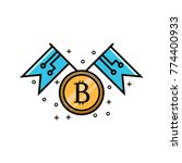 bit coin symbol with two flags  ...