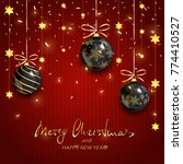 black christmas balls with gold ... | Shutterstock . vector #774410527