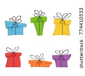 set of christmas or birthday... | Shutterstock . vector #774410533