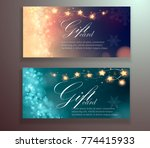 christmas banners with gerland ... | Shutterstock .eps vector #774415933