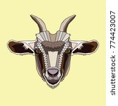 goat's head on a pale yellow... | Shutterstock .eps vector #774423007