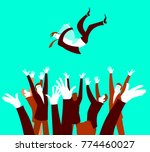 winner tossed up with a prize.... | Shutterstock .eps vector #774460027