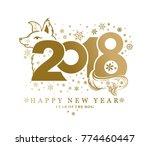 golden dog pattern 2018.... | Shutterstock .eps vector #774460447